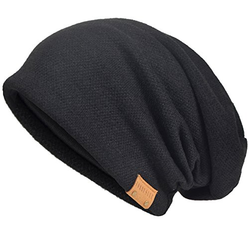 Hombre Algodón Gorros de Punto Slouch Cráneo Invierno Verano Hip-Hop Sombreros (Negro)