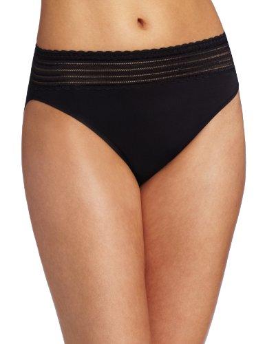 Warner's Women's No Pinching No Problems Lace Hi Cut Brief Panty, Black, 7 (Large)