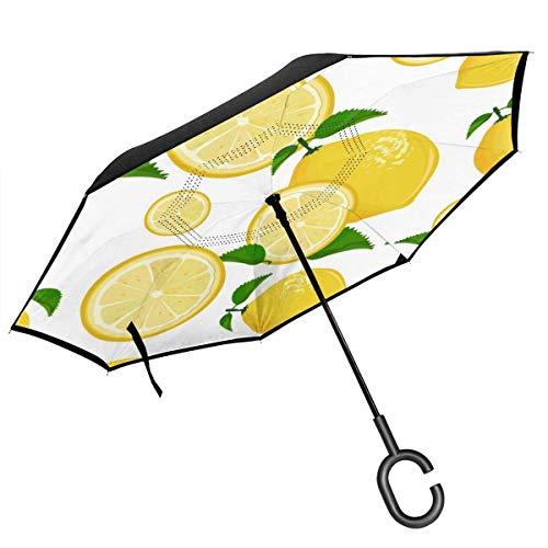 Umkehr-Regenschirm, zweilagig, faltbar, Winddicht, UV-Schutz, wasserdicht, mit C-förmigem Griff, innen, Saft, Limonade, Grapefruit, Limettengrün, Zitrone, für Auto, Regen, Outdoor, 8 Skelett