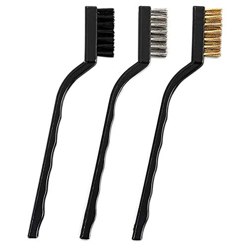 Cepillo de latón, 3 piezas de metal de alambre de cobre cepillos descalcificadores para la limpieza de escoria y óxido, 17,7 cm