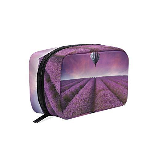 Kosmetiktasche mit Reißverschluss Sonnenuntergang Lavendelfeld Heißluftballon Kupplung Reise Aufbewahrungstasche Organizer Fall für Frauen Make-up Tasche Tasche