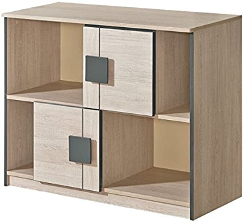 SMARTBett Kommode mit 2 Türen Eiche Santana Grau Sideboard highboard kommode günstig Schlafzimmer kommode