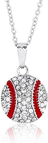 MNMXW Collares Diamantes de Moda Collares de béisbol Pendientes Redondos Diamantes de imitación Bolas Bolas Colgantes Collar Pendientes