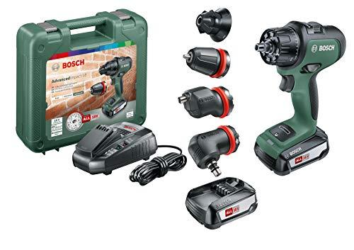Bosch Akku Schlagbohrmaschine AdvancedImpact 18 Set (2 Akkus, 18 Volt System, mit Zubehörteilen, im Handwerkerkoffer)