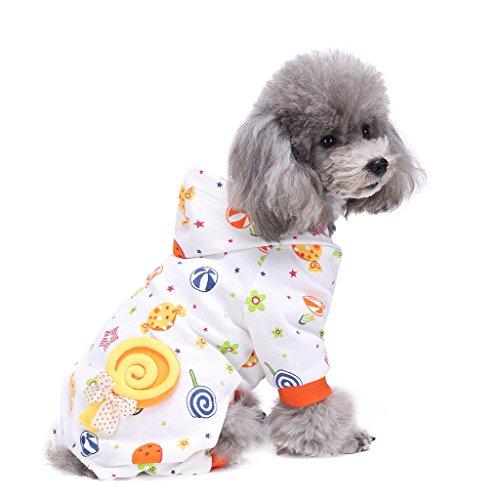 S-Lifeeling Hundekostüme Outfit Candy World Muster Bequemer Welpe Schlafanzug Weicher Hund Jumpsuit Shirt Beste Geschenk 100% Baumwolle Mantel für mittlere und kleine Hunde