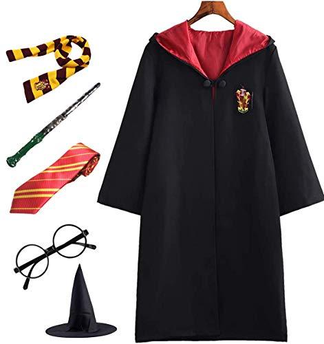 PRXD Harry Potter Cosplay Kostüm Set, Umhang Zauberstab Krawatte Schal Brille Hermine Granger Kostüm Schwarze Robe Schuluniform Fasching Karneval Kostüm Halloween Fest (Rot, 155)