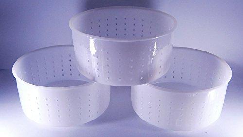 3 x Forma plastica per formaggio Diametro: 15cm Altezza: 7.2cm Peso del formaggio: 1.2kg