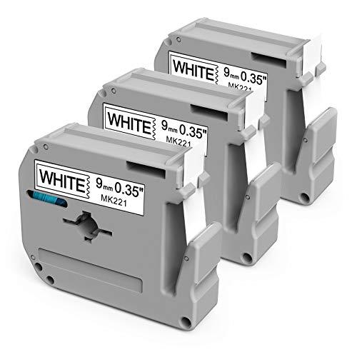 Aken Nastro di ricambio compatibile per Brother Ptouch MK-221 M-K221 MK221 M-K221 m tape 9 mm x 8 m nero su bianco per PT-M95 PT-90 PT-65 PT-60 PT-70BM PT-75 PT-85 PT-100 PT-100 110