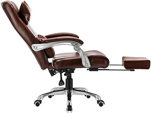 WGFGXQ Computer Chair High Back PU Leather Gaming Desk Chair with Footrest Ergonomic Office Chair Height Adjustable Computer Desk Chair with Headrest and Lumbar Support (Color : Brown)
