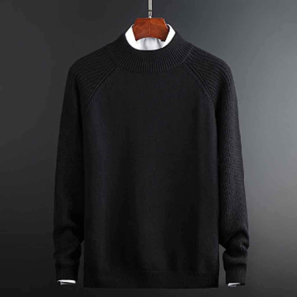 ZYING Mens Autumn Casual Sweaters Cotton Knitted Solid Color Slim Sweaters Long Sleeve Round Collar Male Warm Pullovers (Color : XL Code)