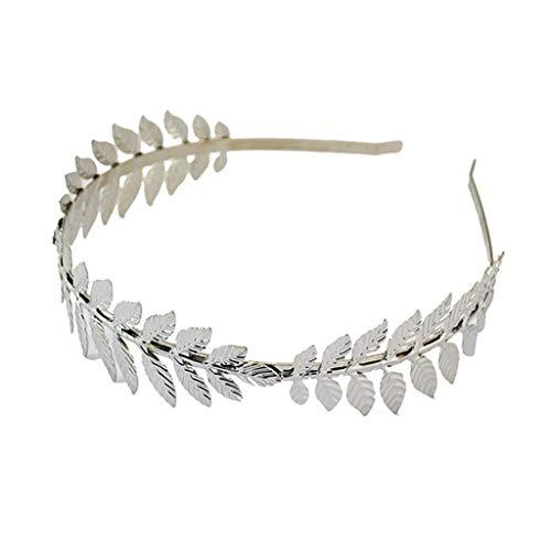 CarryKT Europese Griekse godin hoofdband metallic goud zilver bladeren branche crown haarband bruiloft bruid tiara shimmer haarsieraad