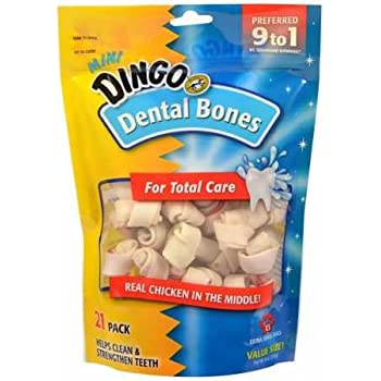 Dingo Dental Bones Dog Chews With Real Chicken (Packaging May Vary)