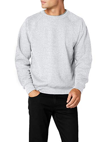 Fruit of the Loom Raglan Sweatshirt, Felpa Uomo, Grigio, X-Large