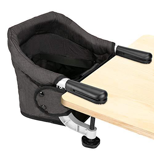 Tischsitz Faltbar Baby Hochstuhl Sitzerhöhung Stuhlsitz mit Transportbeutel, Ideal für zu Hause und Unterwegs(Schwarz)