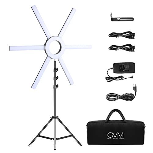 Iluminación de Video LED GVM de con luz de Video led CRI 97+ Bi Color Regulable 3200K-5600K con Soporte, Anillo de luz para fotografía para Selfie Youtube, cámara de Estudio y Video