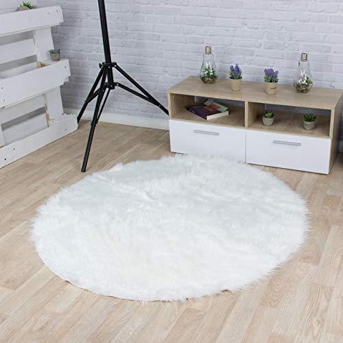 Taracarpet Kunstfell Teppich weiß 030x030 cm rund Schaffell Imitat Wohnzimmer Schlafzimmer Kinderzimmer auch als Bett-Vorleger oder als Matte für Stuhl Sofa