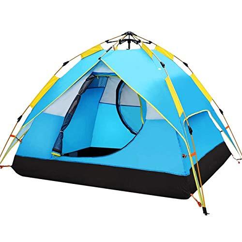HEWOLF Wurfzelt Pop Up Zelt 2-3 Personen Campingzelte Winddicht Kuppelzelt Leichtes Sekundenzelt Sofortiges Aufstellen Doppelschicht Familienzelt (Blauer See)