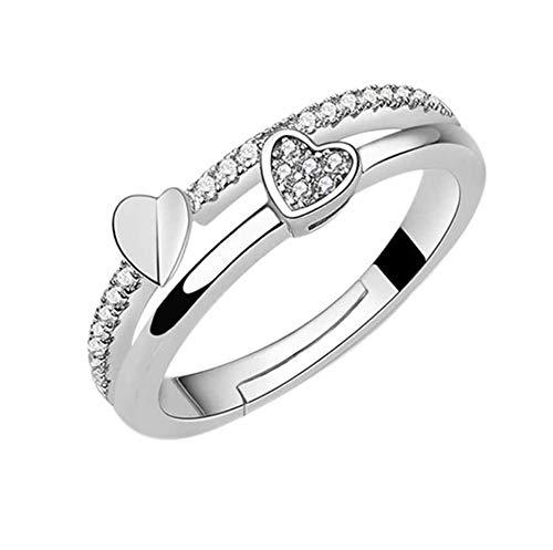 AllRing - Anello in argento da donna, semplice, a forma di cuore, con cristalli, anello in argento, elegante, regalo per donne e ragazze