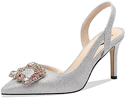 DABAOBEI Abendgesellschaft Prom Hochzeit Brautschuhe Sandalen Dick Mit Mode Quadratischen Kopf Schuhe Hohlen Sommer High Heels Weißlich Rund Mit