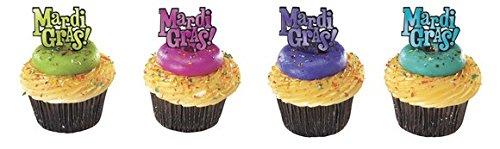 Mardi Gras Cupcake Picks - 24 pcs
