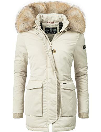 Navahoo Damen Winter-Jacke Winter-Mantel Schneeengel (vegan hergestellt) Creme Off White Gr. S