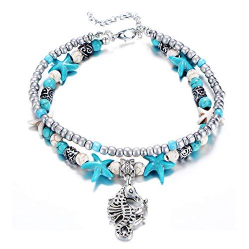 Tobillera moderna 1 pieza azul Lotus Mar tortuga árbol etc para niñas mujer imitación perlas pie pulsera joyas