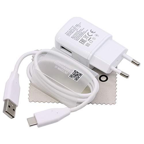 Ladegerät für Original LG MCS-H06ER + DC12WK 1,8A 1m für LG G5m G6, G7, Q8, V20, V30 Schnell Ladekabel Netzteil mit mungoo Displayputztuch