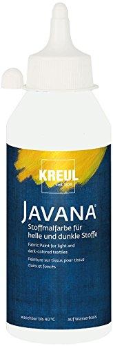 Kreul 91453 - Javana Stoffmalfarbe für helle und dunkle Stoffe, auf Wasserbasis, brillante Farbe mit pastosem Charakter, lichtecht und waschbeständig, 250 ml Flasche, weiß