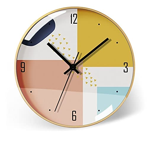 HNSYYUEYOU Reloj de Reloj de Reloj Simple Reloj de Pared Sin Sonido Suelo silencioso Sala de Estar Reloj de Pared 14 Pulgadas (Color : D)