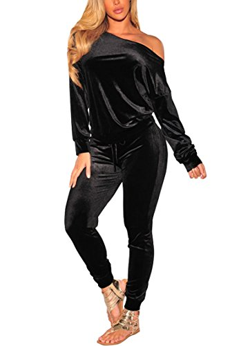 PINSV 2 Piece Outfits Velour Tracksuit for Women Zip Up Hoodie Velvet Jogging Sweatsuit Workout Sets