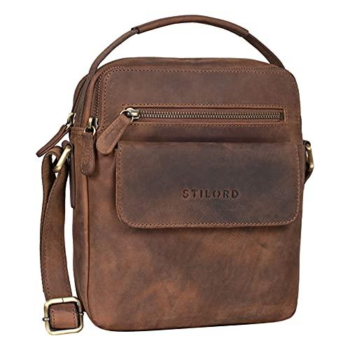 STILORD 'Mio' Herrentasche Leder Klein Vintage Lederumhängetasche Moderne Männer Handtasche Schultertasche für 10.2 Zoll iPad Ledertasche Mann, Farbe:mittel - braun