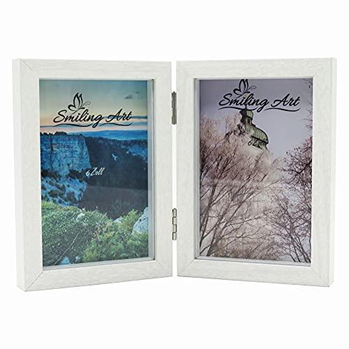 Smiling Art Bilderrahmen für 2 Fotos aus MDF Holz mit Glasscheibe, klappbarer Bilderrahmen, Doppelrahmen (Weiß, 2x10x15 cm)
