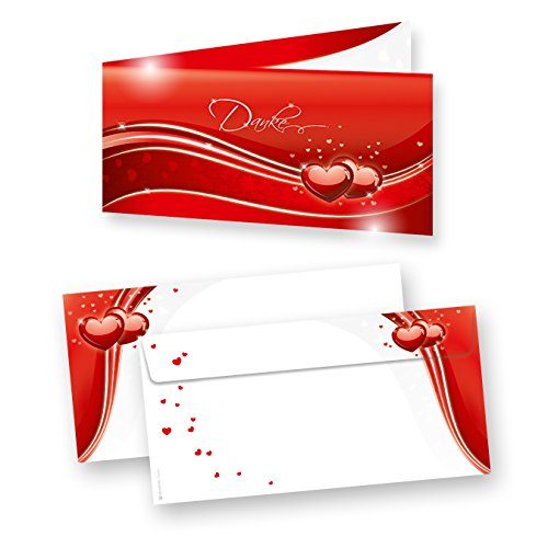 Danksagung Hochzeit Rot Liebe (40 Sets) sehr elegante Danksagungskarten für Hochzeit, inkl. Dreieckstaschen für Ihr Hochzeitsbild
