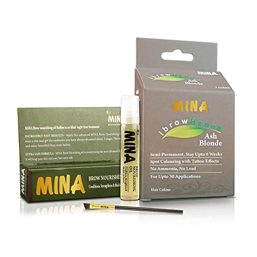 MINA ibrow Henna Ash Blonde Professional Tint Kit With Nourishing Oil & Brush Combo Pack | No Ammonia | Vegan & Cruelty free | Upto 30 Applications