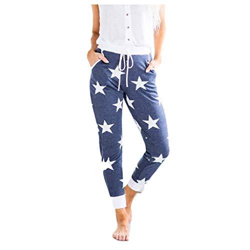 Women 4th of July Lounge Home Pajama Pants,Elastic Waist Pants,Loose Pants,Drawstring Sport Casual Legging Pants Trousers