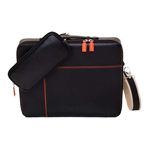 Shalimar Luxus Multifunktions Laptoptasche und Sleeve aus Leder für Notebooks bis (15,4 Zoll) Diagonale. Lapster Xanadu. 35x28x4 cm, Color:Black