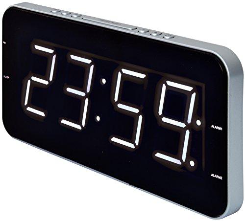 Roadstar CLR-2615 Horlogeradio met slank design (groot scherm, dual alarm, sleep/snoozefunctie, batterij-backup)