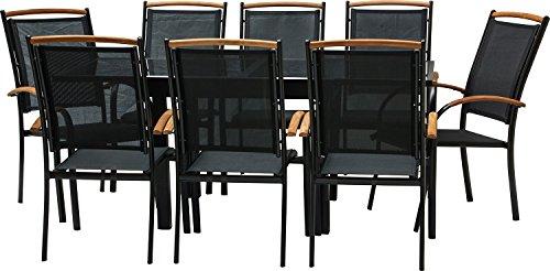 IB-Style - Salon de Jardin Diplomat-Quadro - Chaise EMPILABLE | 6 Variantes | Alu Noir/Textile/Bois Teck | Table à rallonge | Meuble de Jardin Table Chaises | 9 pièces