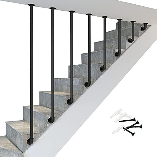 Barandilla Pasamanos de escalera de tubo de metal en forma de L de hierro forjado, pasamanos de escalera negros para escalones interiores, barandilla de escalera interior para el hogar, antidesliza