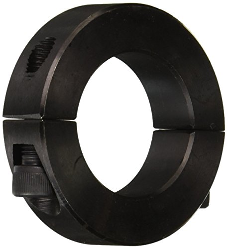 """Climax Metal 2C-125 Steel Two-Piece Clamping Collar, Black Oxide Plating, 1-1/4"""" Bore Size, 2-1/16"""" OD, With 1/4-28 x 3/4 Set Screw, 1 Count"""