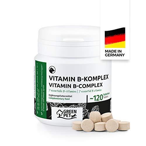 GreenPet Vitamin B Komplex Hund - 8 B Vitamine, Biotin, Folsäure, Mineralstoffe, Hochdosierte Vitamine für Hunde Senior, Junge & Welpen, Dog Vitamins, Made in Germany, 120 Tabletten bis zu 4 Monate
