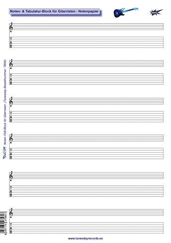 Noten- & Tabulatur-Block für Gitarristen - Notenpapier Gitarre-TABs