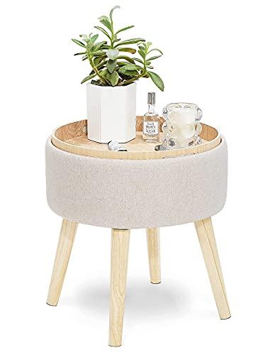 Suhu Puff Hocker 4-in-1 mit Stauraum und Tablett aus Leinen und Massivholz Fußhocker mit Deckel Fußbank Beistelltisch Nachttisch Rund für Wohnzimmer Schlafzimmer Kinderzimmer Flur Beige