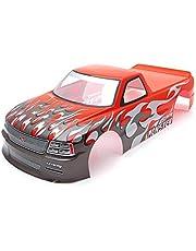 Exanko för 1/10 RC bil gift T-10 PVC målad kropp skal 1/10 RC bil plocka upp lastbil bredd 205 mm hjulbas 255 mm, röd