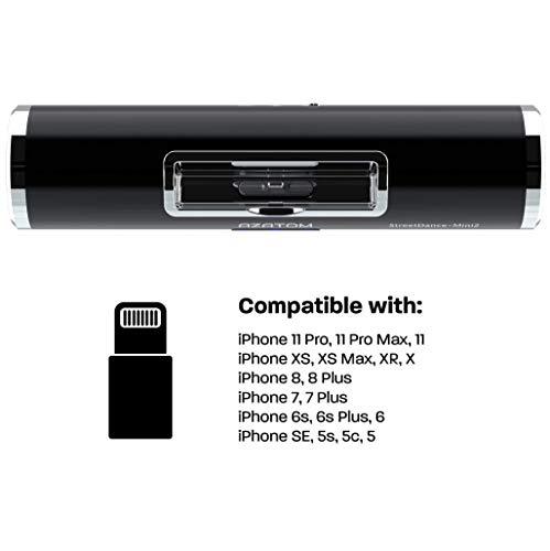 AZATOM StreetDance II docking station speaker with 8-pin for iPhone 11 Pro Max, 11 Pro, 11, Xs, Xr, X, 8, 8plus, 7, 7plus, 6s, 6plus, 5s, 5c, 5, SE (Streetdance 2 Black)