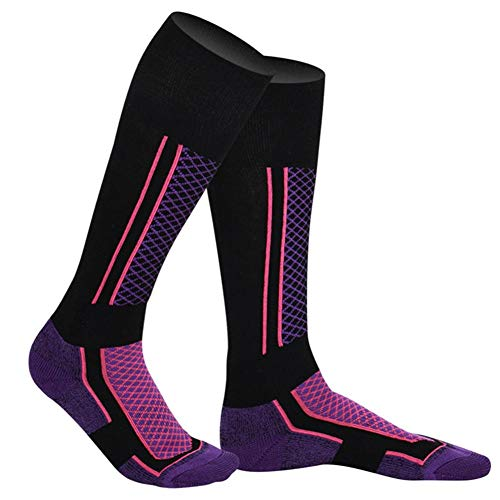 Buty Narty termiczne skarpety do sportów zimowych, ciepłe, długie, profesjonalne, antyzapachowe, do biegania, jazdy na rowerze, dla kobiet, fioletowe