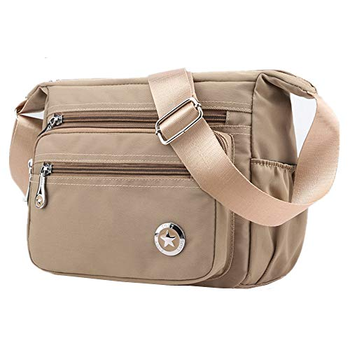 MISOFE Casual Crossbody bolsos de hombro bolsas de hombro para mujer impermeable nylon bolsas de mensajero (Khaki)