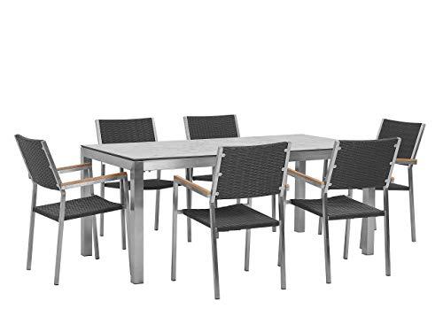 Beliani 6 plazas jardín comedor conjunto mármol chapa HPL superior negro ratán sillas Grosseto