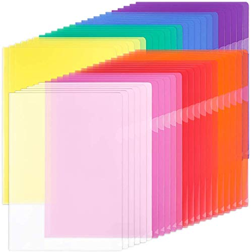 EOOUT 45pcs Plastic Clear Document Folders Project Pockets, File Folders for Letter Size and A4, 8 Assorted Colors, for School Office