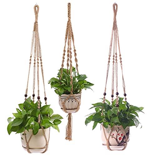 Lixinju Hanging Planters Indoor Macrame Plant Hanger Holder Outdoor Wall Window Flower Gardening Pots Planters Accessories 3PCS